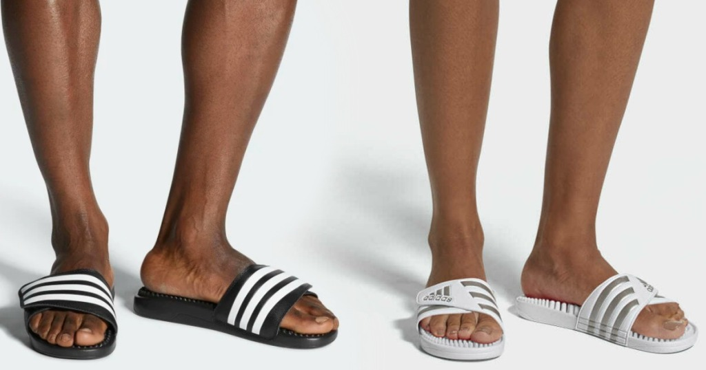 Man and Woman wearing adidas brand slide sandals