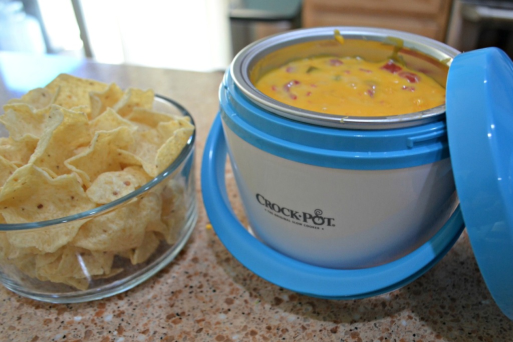 Mini Lunch Crock filled with nacho cheese