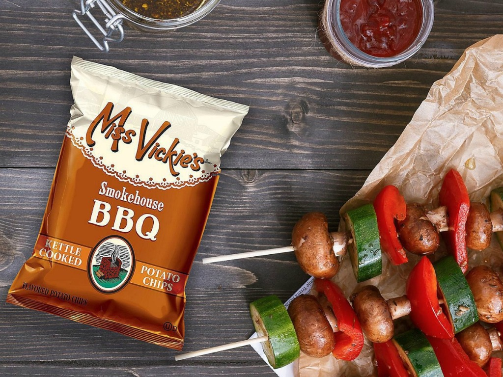 Miss Vikie's Smokehouse BBQ Chips on table