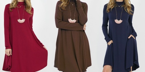 Women's Mock Neck Dresses w/ Pockets Only $14.99 at Zulily
