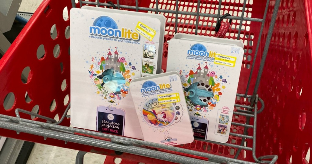 Moonlite storybook projector and story reels in Target cart