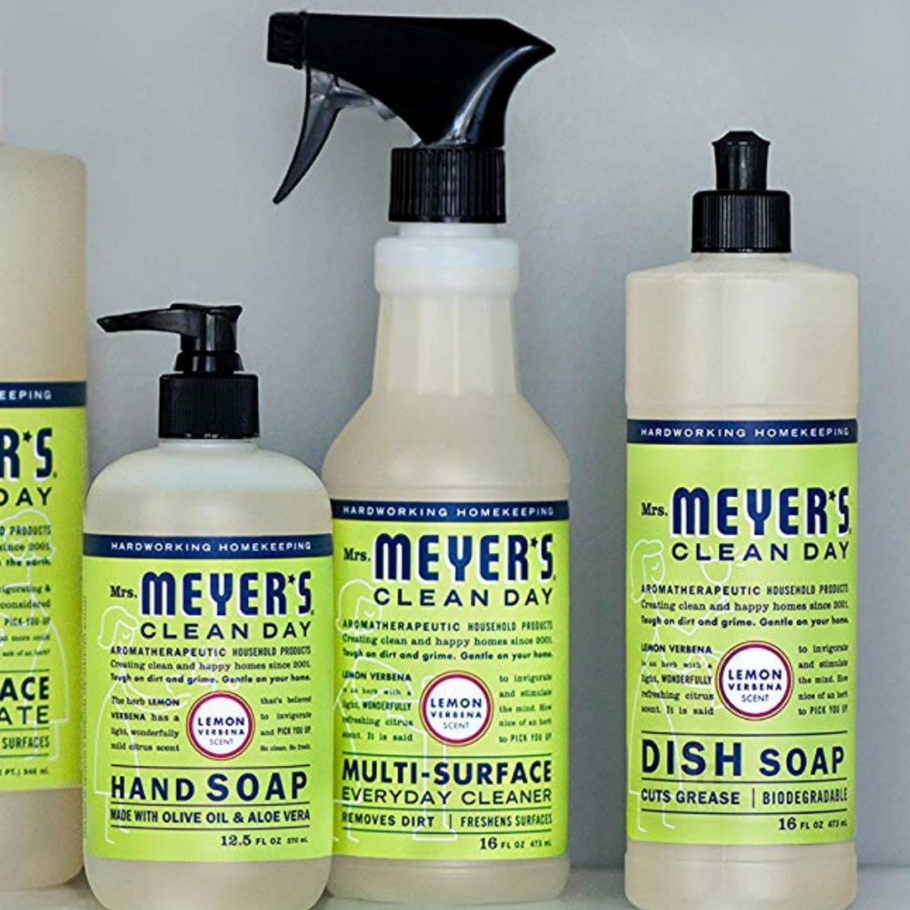 Line of Mrs. Meyer's brand cleaning supplies