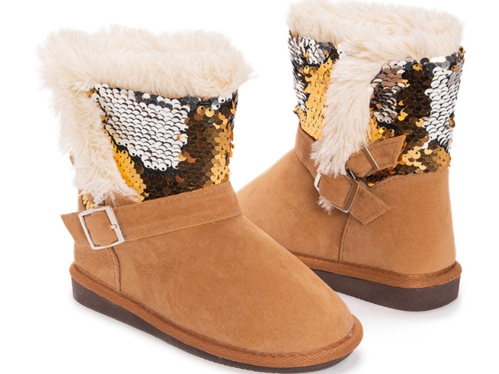 tan Muk Luks girls boots with sequins