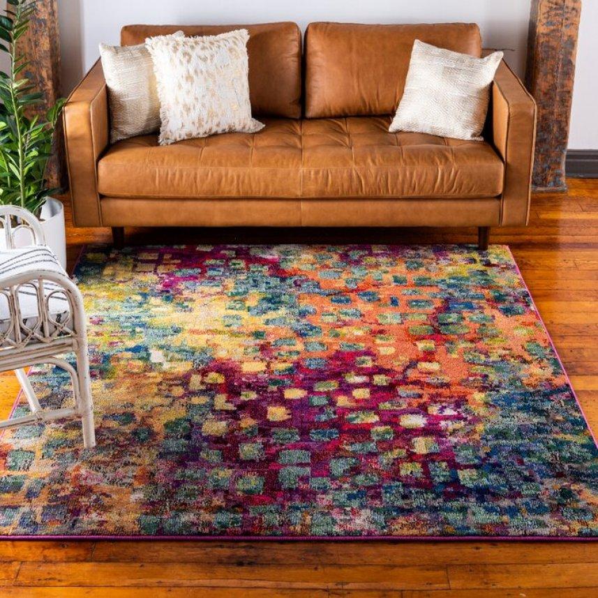Mistana Multi-Colored Area Rug in living room