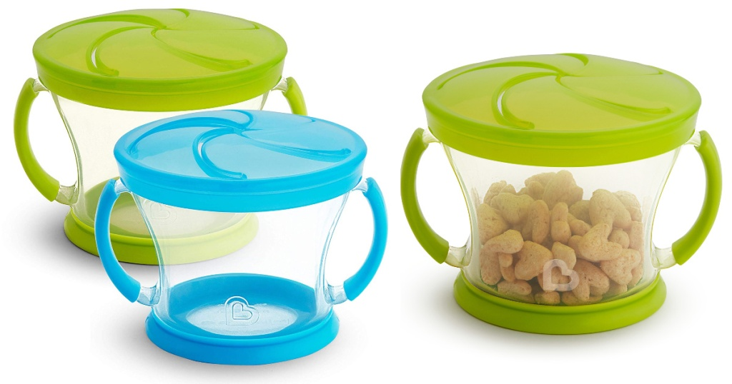 blue and green munchkin snack containers