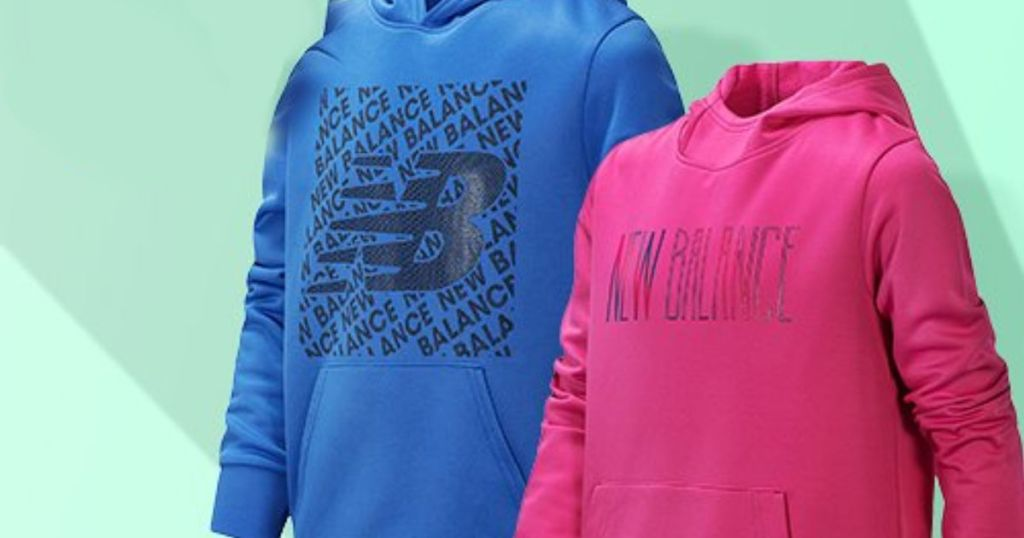 pink and blue New Balance Hoodies