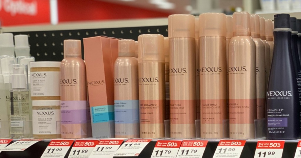 Nexxus haircare products on display at Target