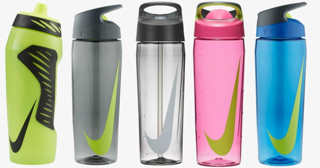 Nike brand water bottles in various styles and colors