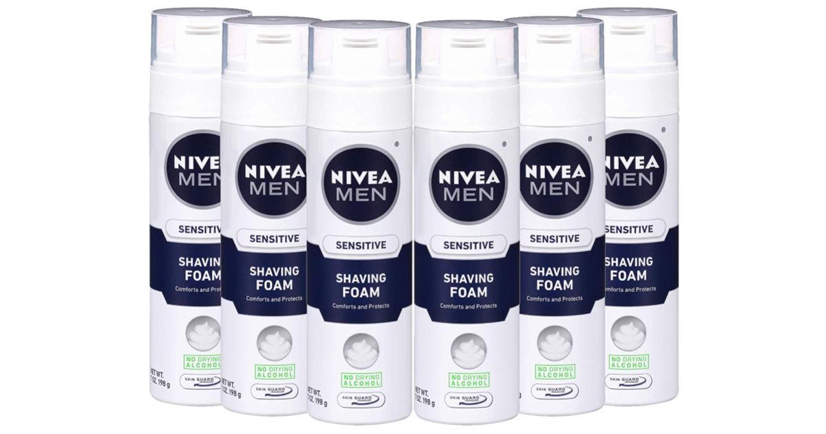 6 containers of nivea men's shaving foam