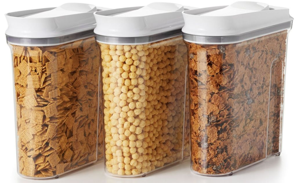 OXO Good Grips 3-Piece Pop Cereal Dispenser Set filled with cereal