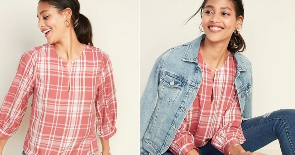woman wearing plaid shirt and jean jacket