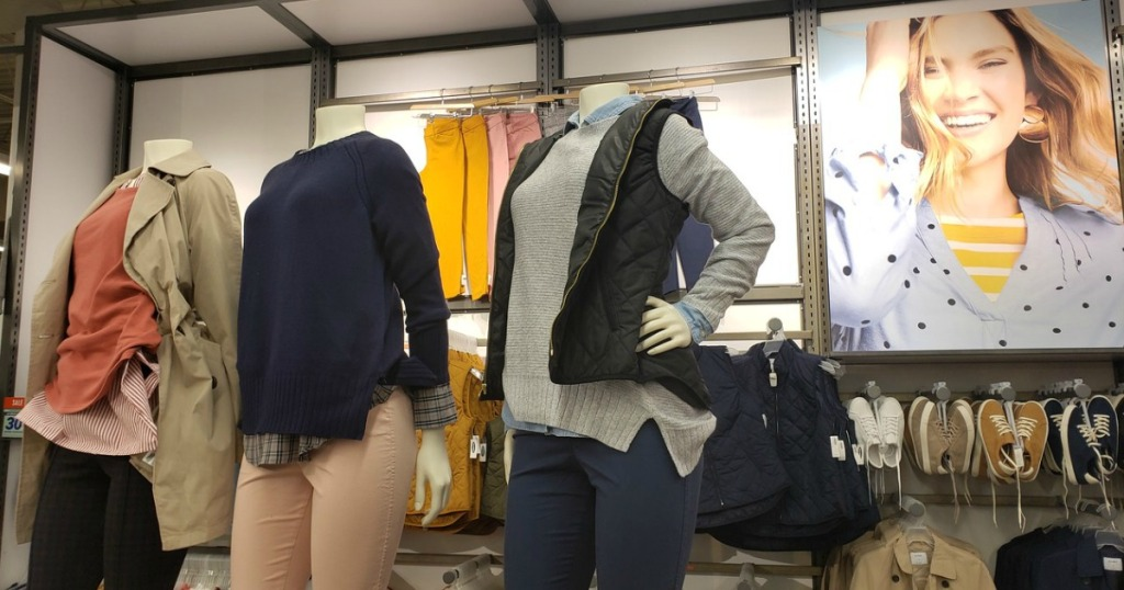 Old Navy women's outerwear in-store