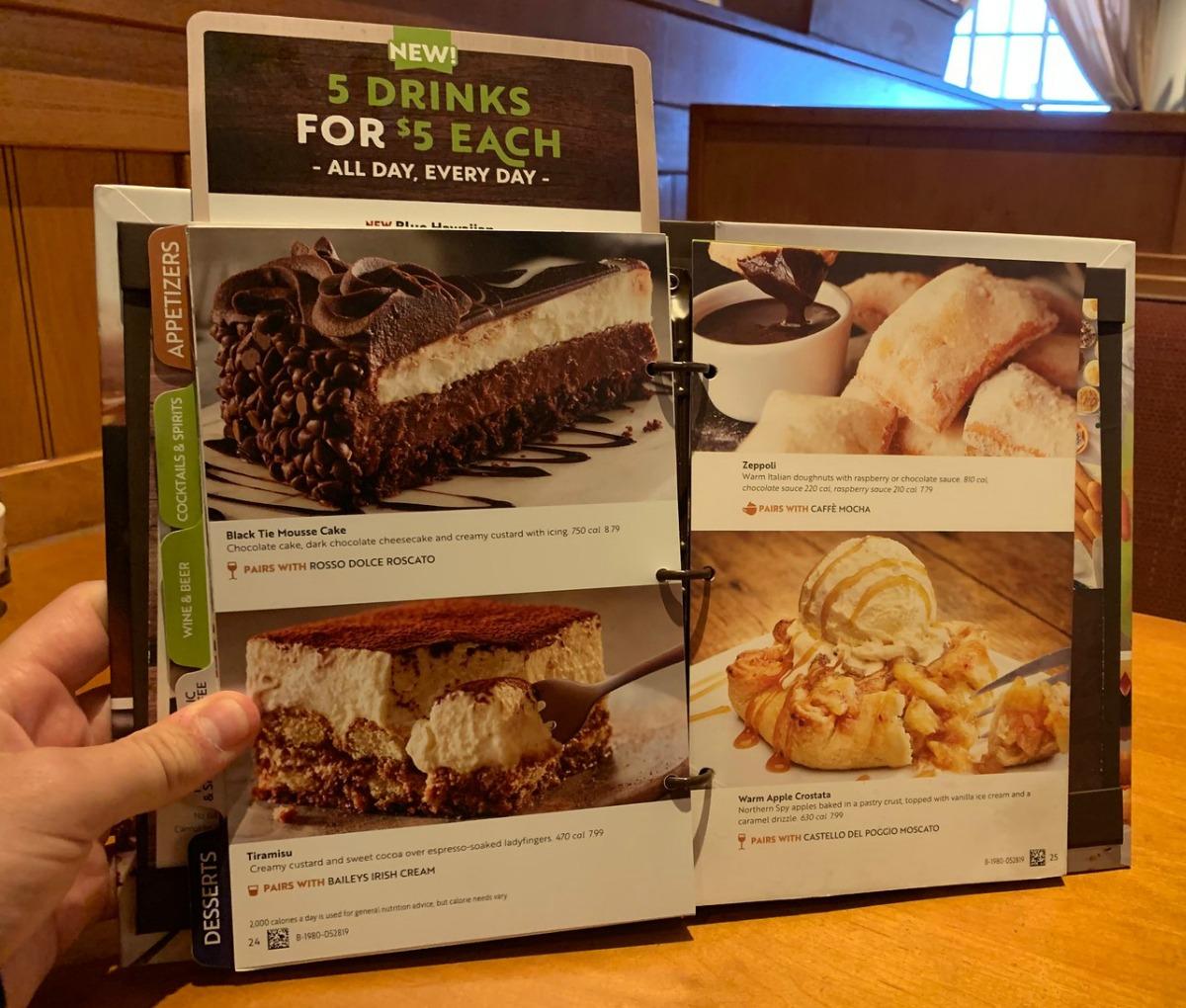 Dessert Menu at Olive Garden in restaurant at table