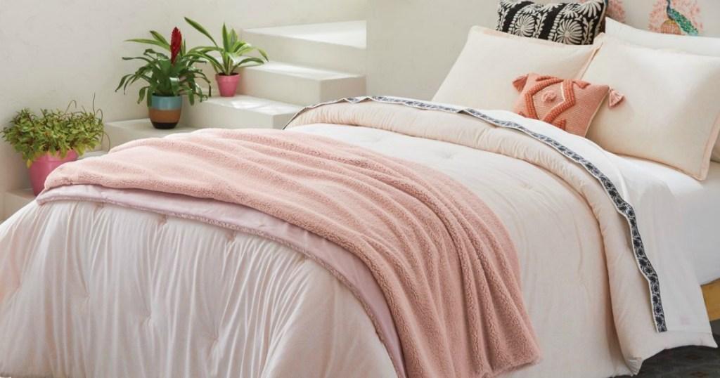 Opalhouse Sherpa Blanket on bed