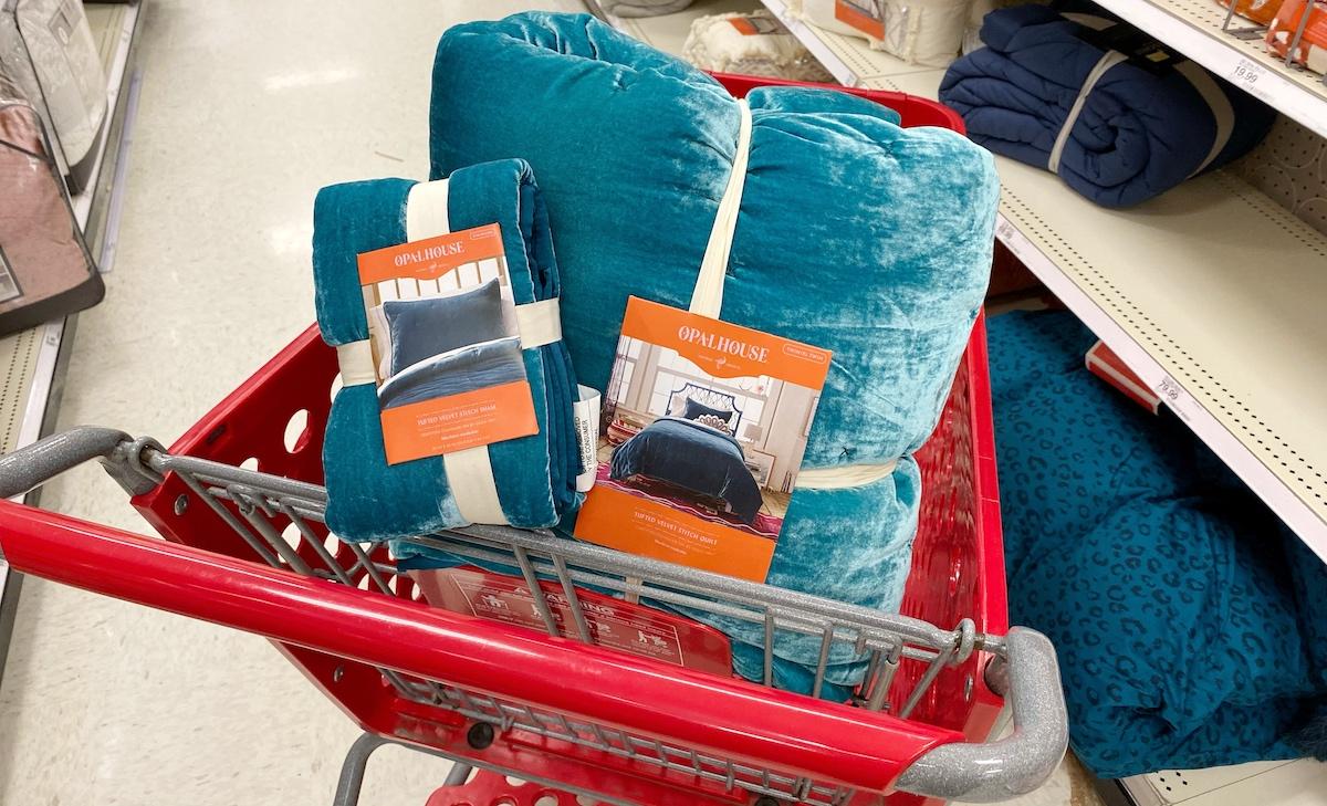teal blue velvet quilt blanket and shams in target red cart