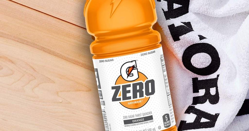 bottle of orange gatorade zero