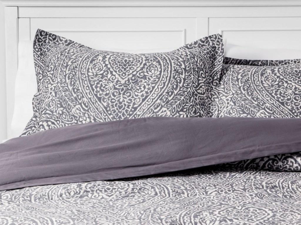 Paisley Ogee Comforter Set Gray