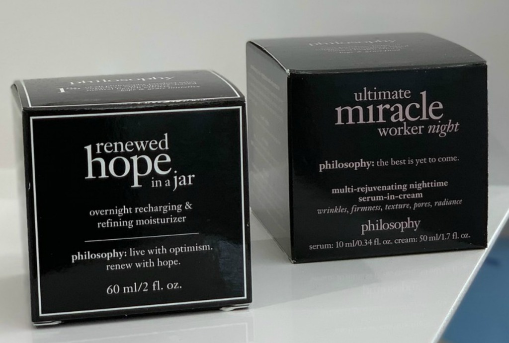 Boxes of Philosophy brand night creams in package on counter in-store