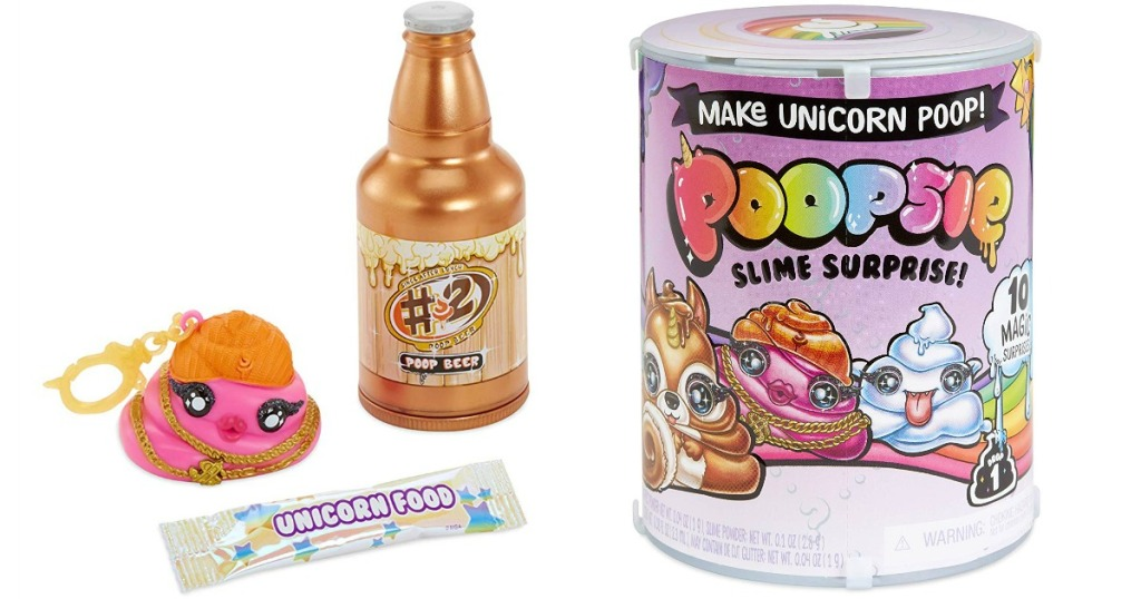 Poopsie Slime Surprise Poop Pack package with poop beer bottle, poop slime and unicorn food package