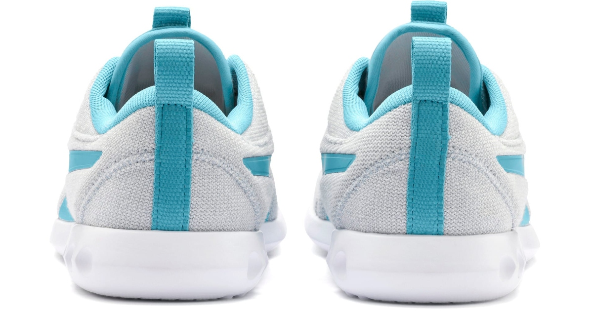 Puma Carson Sneakers, the back of them in white and teal