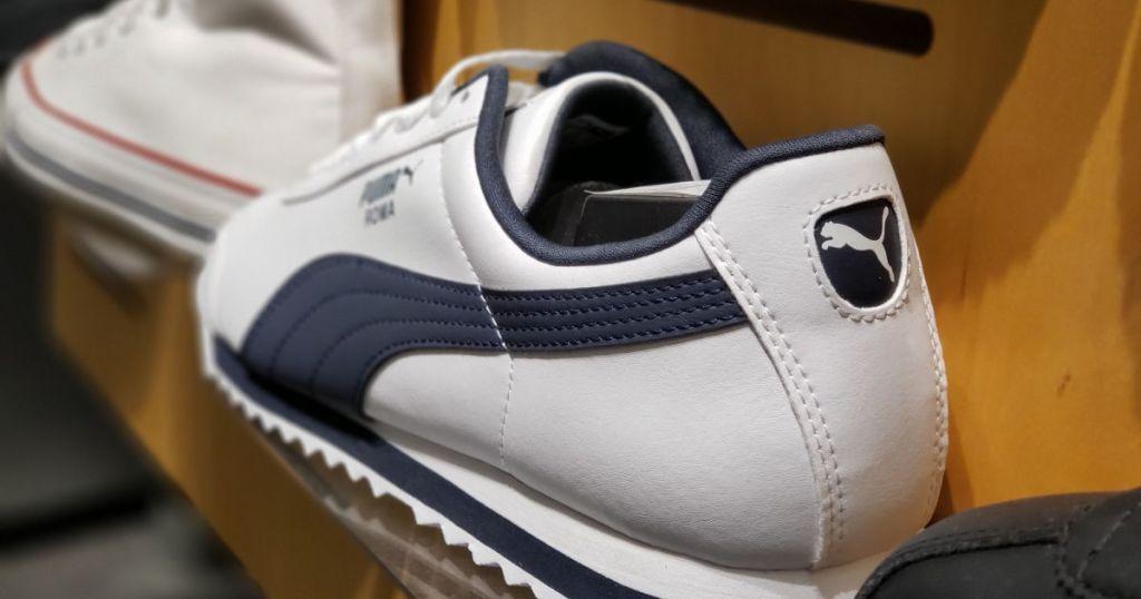 blue and white puma shoes