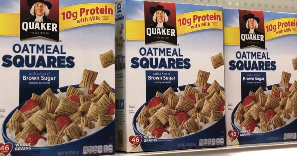 Quaker Oatmeal Squares on store shelf