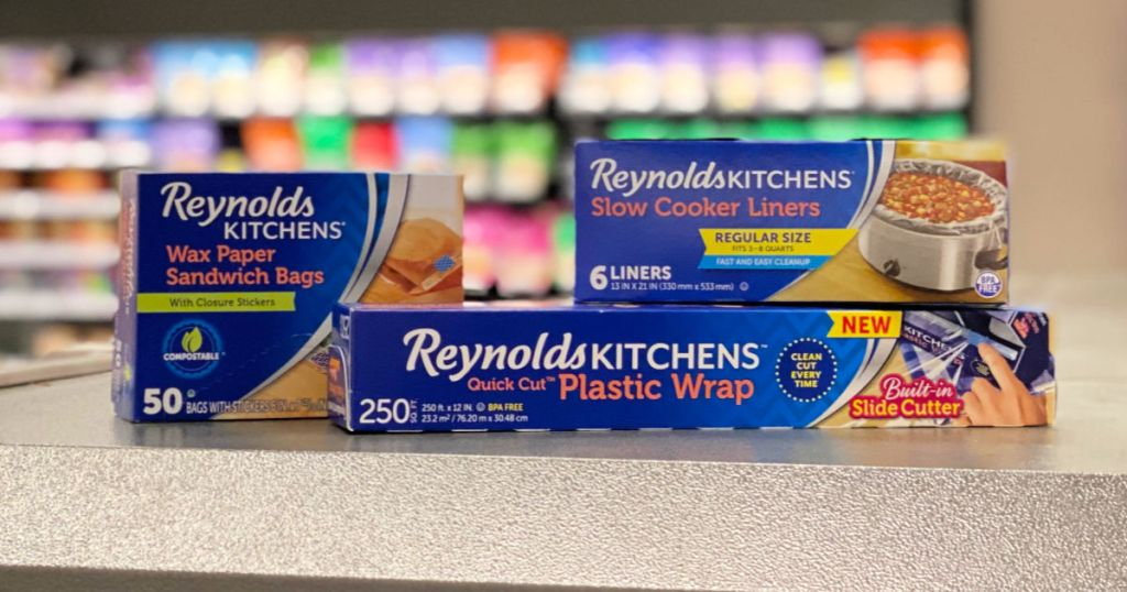 reynolds kitchen plastic wrap, slow cooker liners, and sandwich wax bags