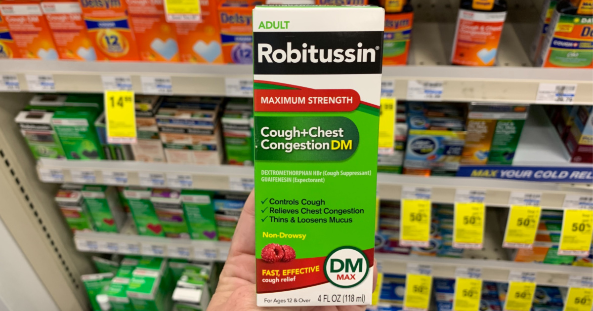 adult Robitussin cough medicine in the box in front of other cod and cough medicine