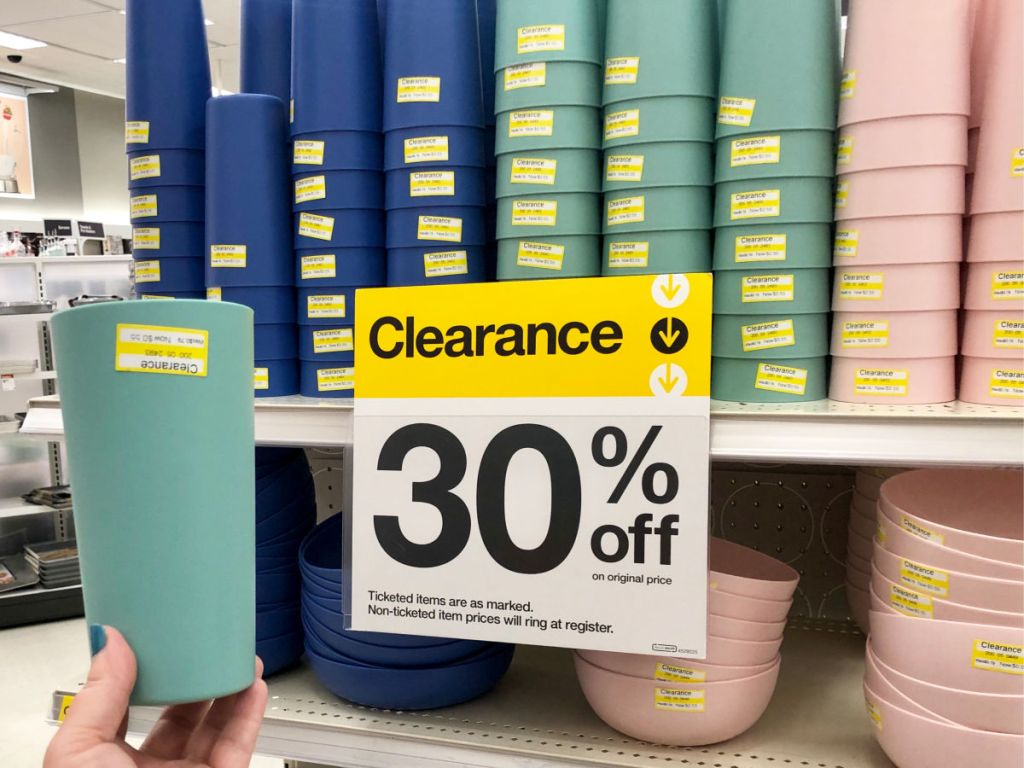 Room Essentials cups and bowls with sign at target
