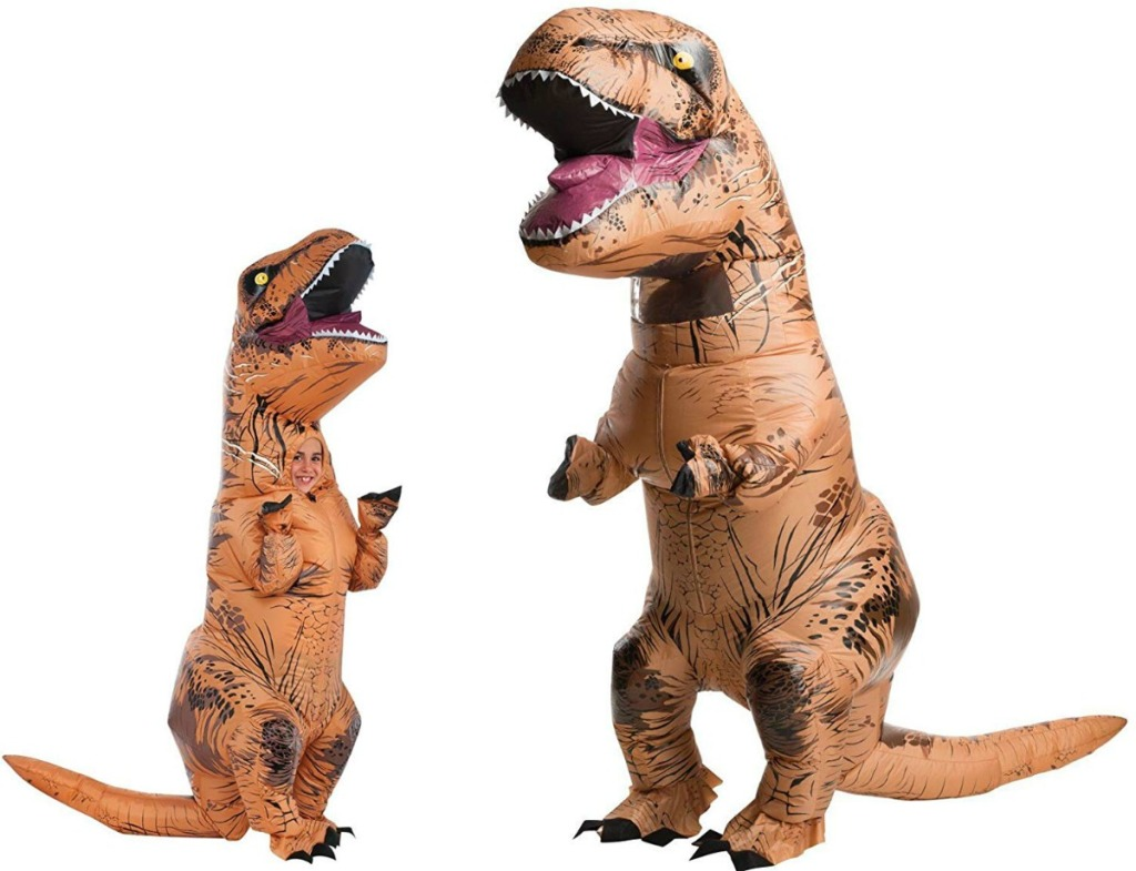 adult and child wearing Rubie's inflatable t-rex costumes