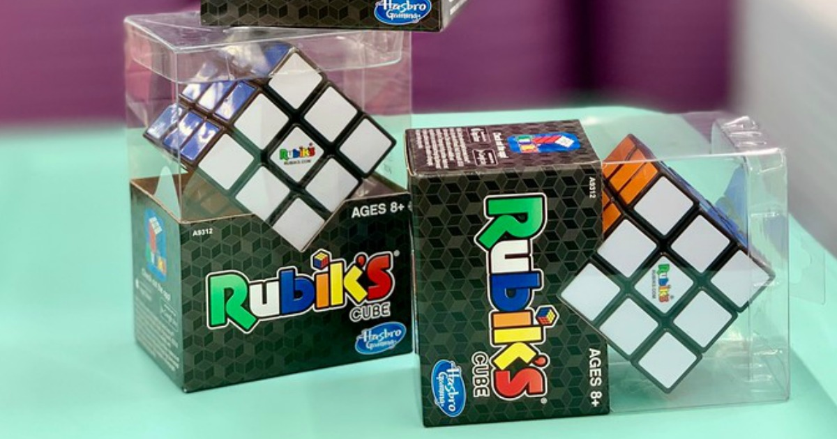 Rubik's cubes on display with blurry background