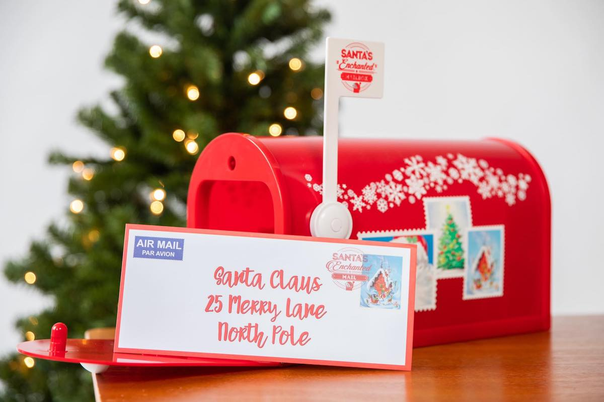 Santa's Enchanted Mailbox with letter on tabletop