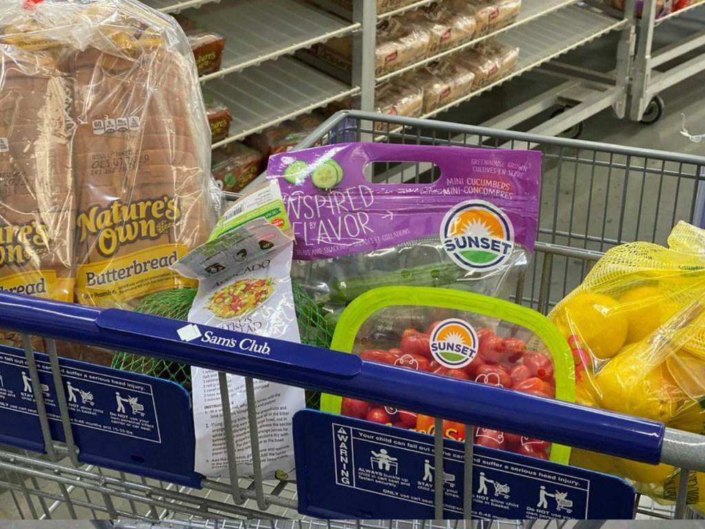 various groceries at Sam's Club - lemons, cucumbers and more