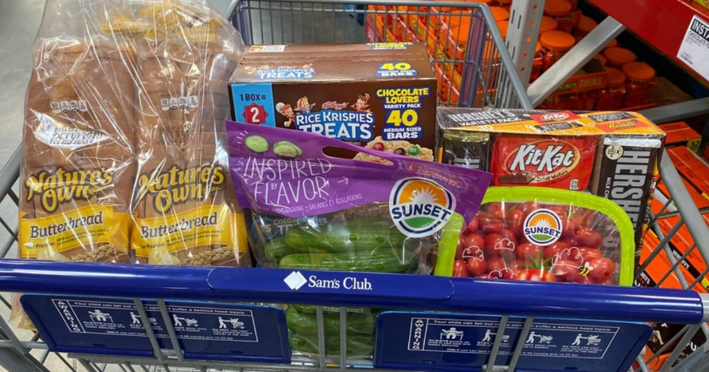 groceries and Halloween candy in a cart at Sam's