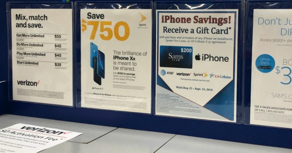 Sam's Club iPhone Savings on display inside club