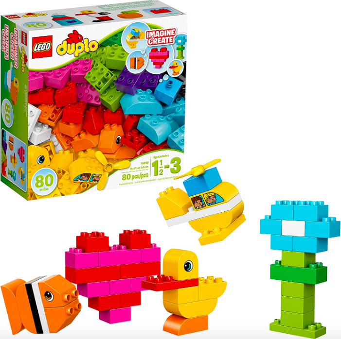 lego duplo set with a fish, heart, duck and tree