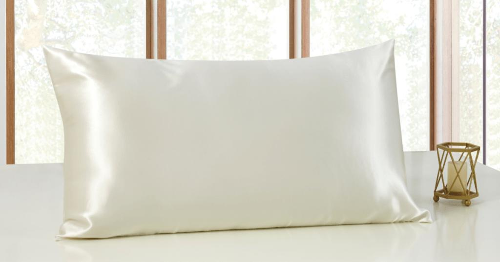 Sleep Mantra 100% Silk Pillowcase on table