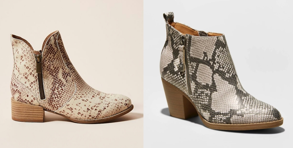 two pairs of snakeskin booties