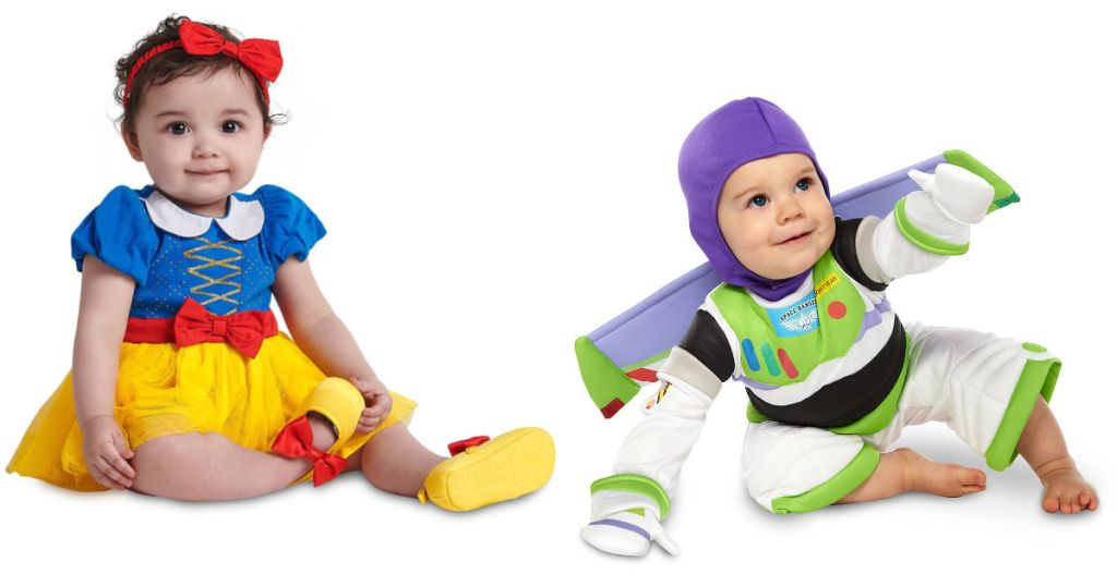 babies wearing snow white and buzz lightyear costumes
