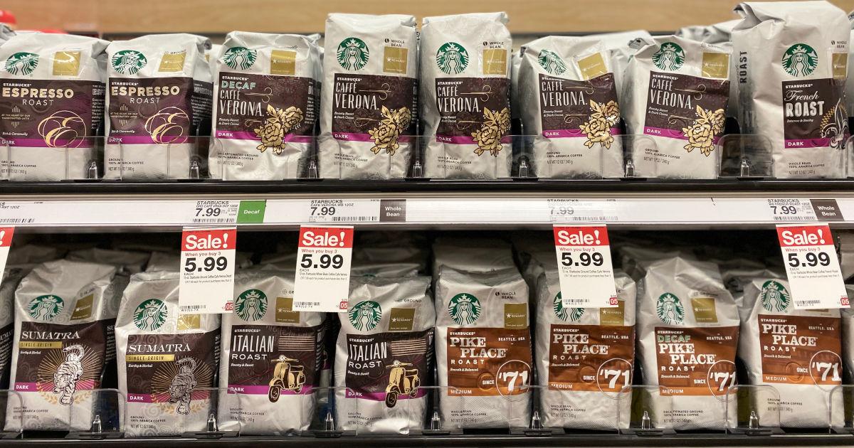 starbucks bagged coffee on shelf at target