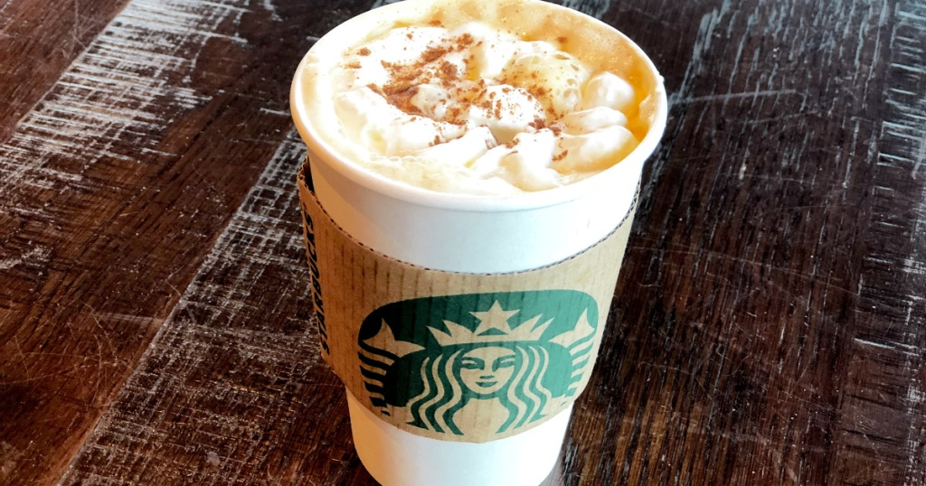 starbucks pumpkin spice latte on table
