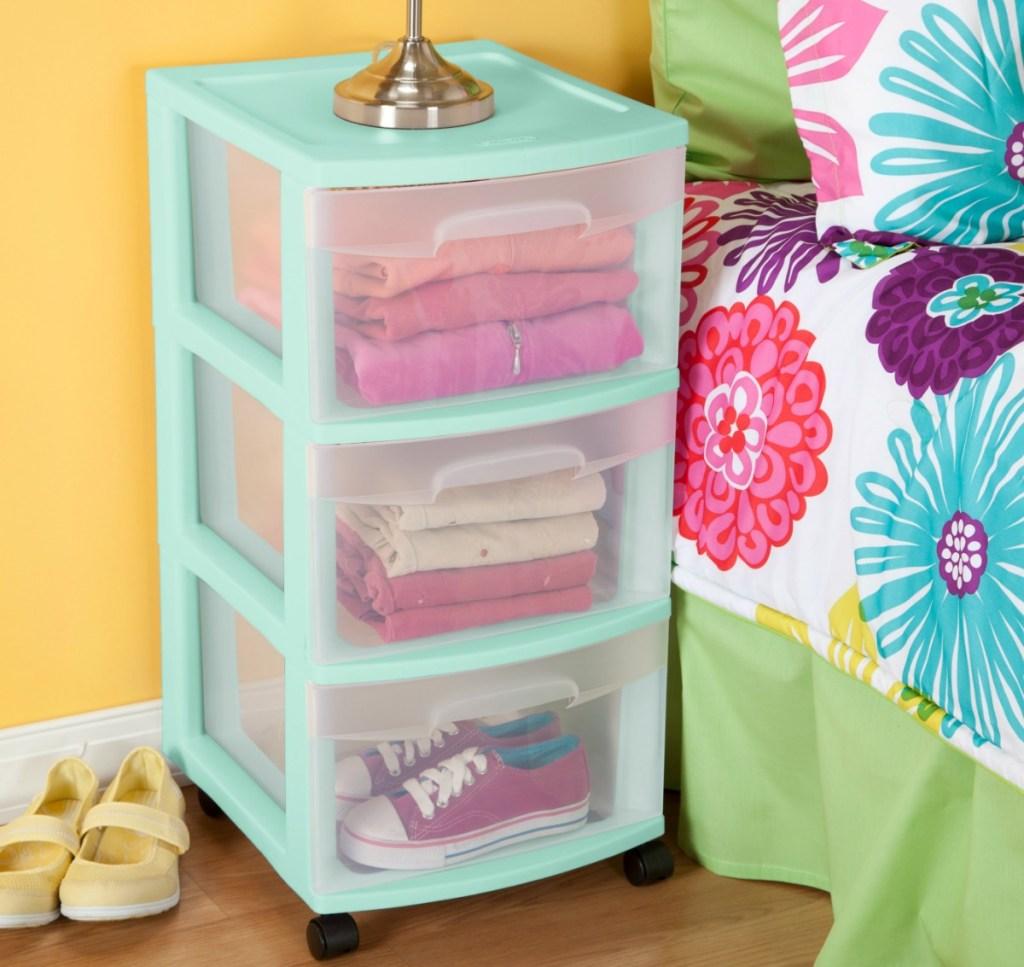 Sterilite -drawer cart in mint color in bedroom