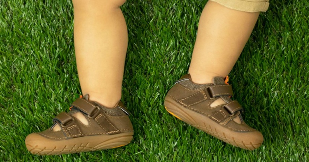baby wearing Stride Rite Shoes