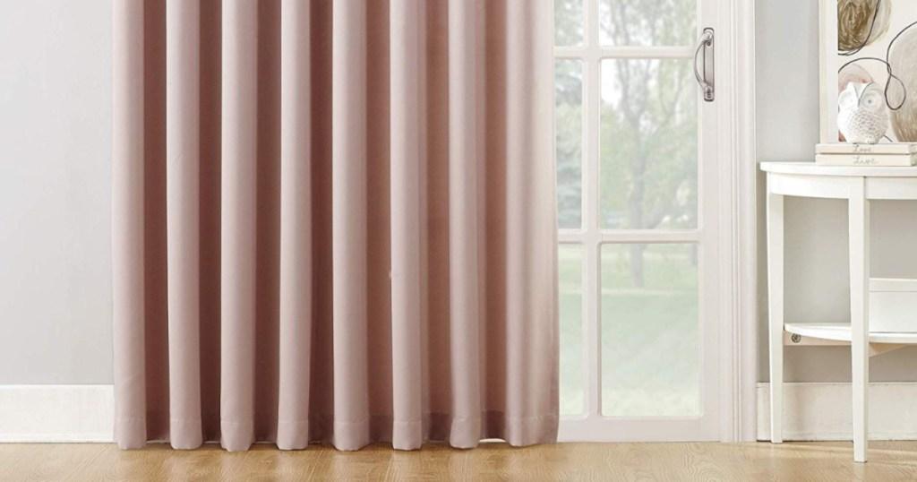 "Sun Zero Barrow 100"" x 84"" Sliding Patio Door Curtain Panels w/ Pull Wand in Blush"