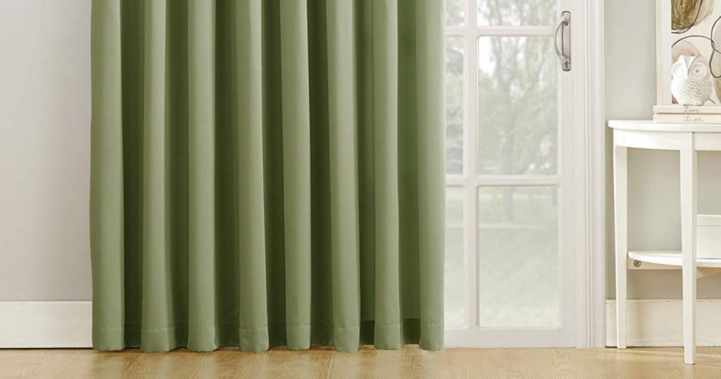 "Sun Zero Barrow 100"" x 84"" Sliding Patio Door Curtain Panels w/ Pull Wand in Sage Green"