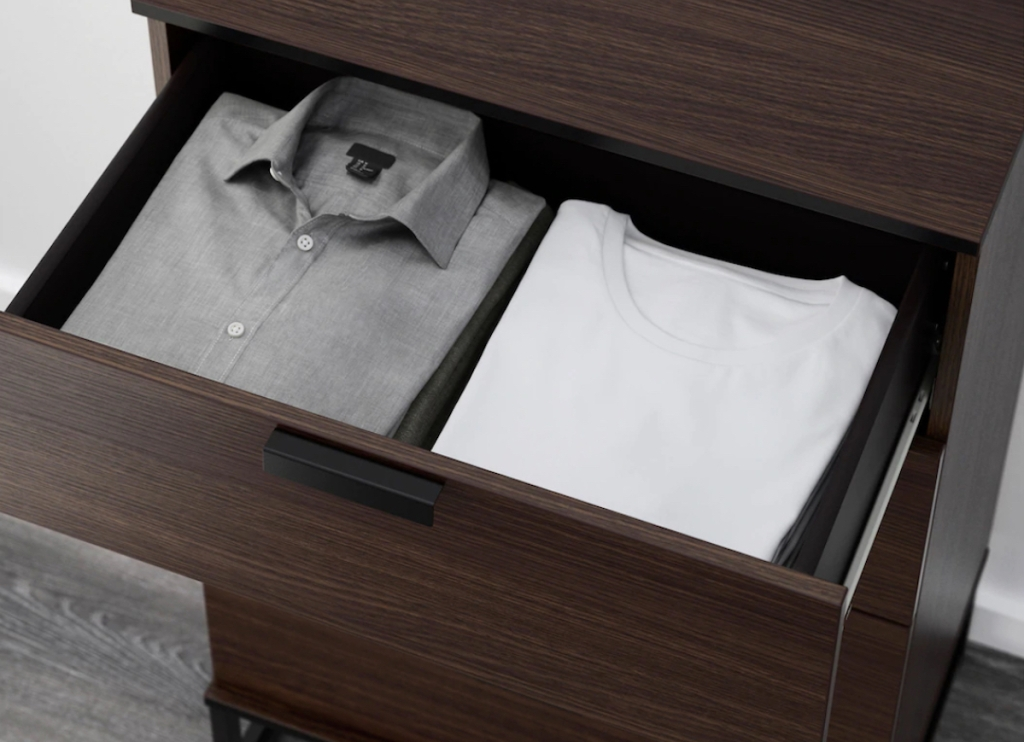 gray and white shirts in brown dresser IKEA