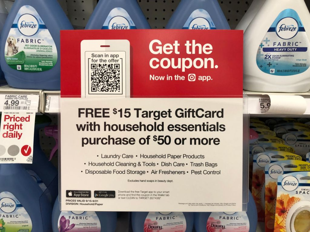 Target Giftcard with household essentials sign