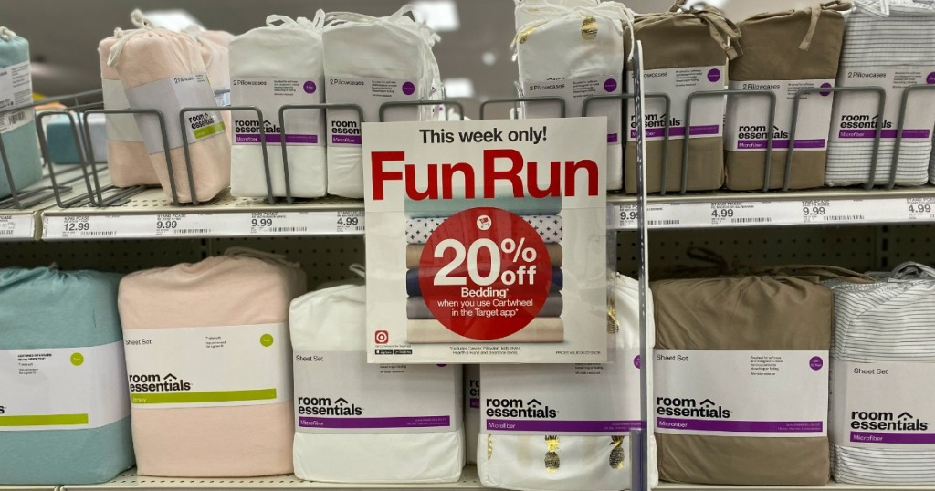 Target Sheets on shelf with sale sign