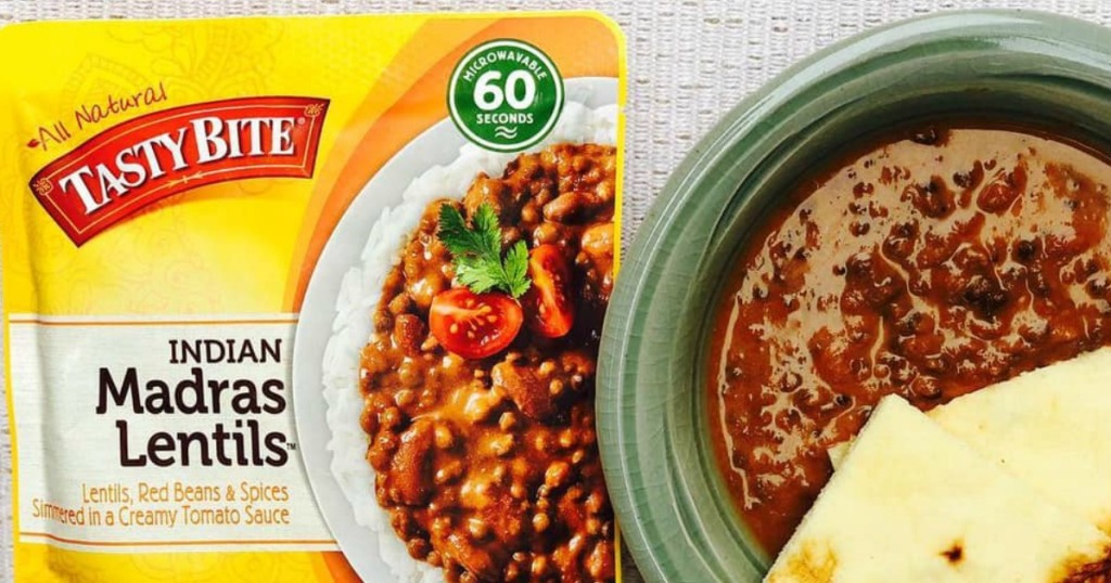 Tasty Bite lentils next to an indian soup