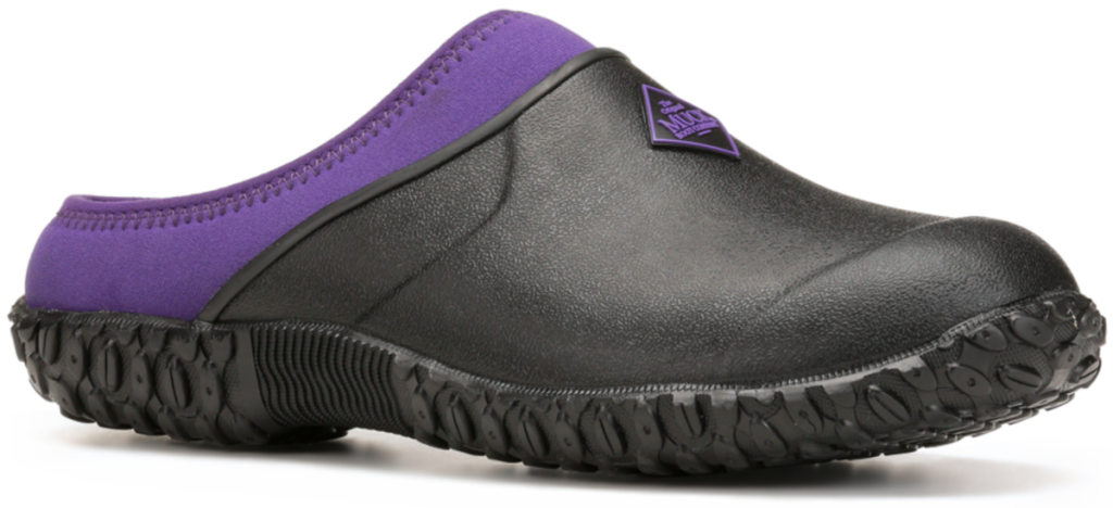 black and purple clogs